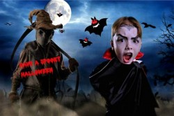 Boy dressed as Dracula on spooky background using greenscreen