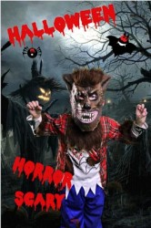 Boy dressed as Werewolf on spooky background using greenscreen