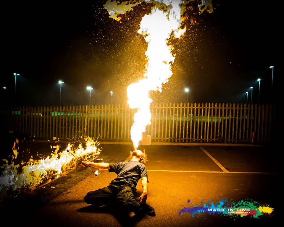 Andy Firebreathing at the Charity Firewalk in aid of the peace hospice Watford